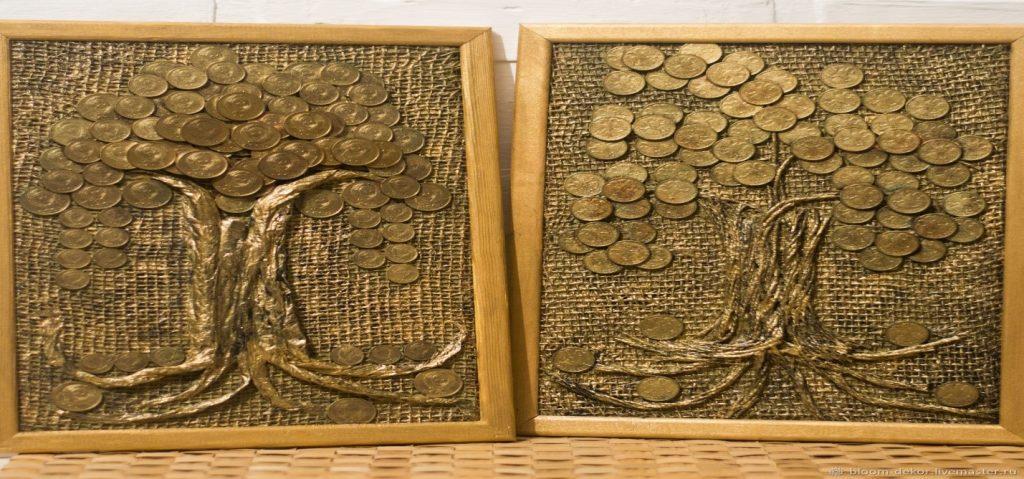 Панно в виде дерева с листвой из советских монет