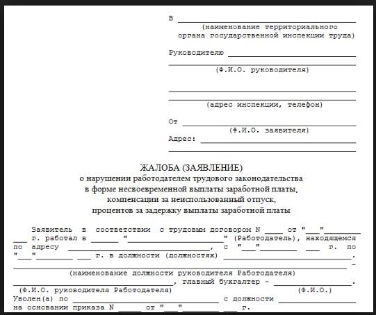 Заявление в территориальный орган трудовой инспекции